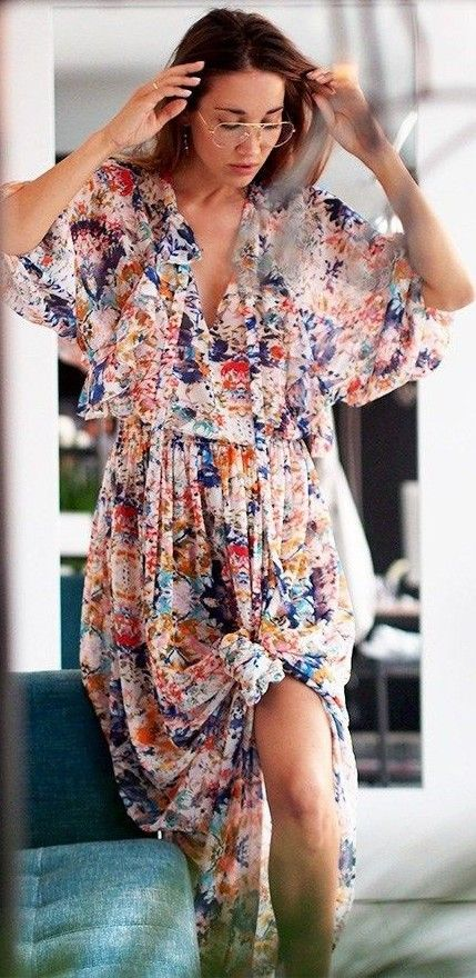 #summer #trending #style |  Floral Maxi Dress