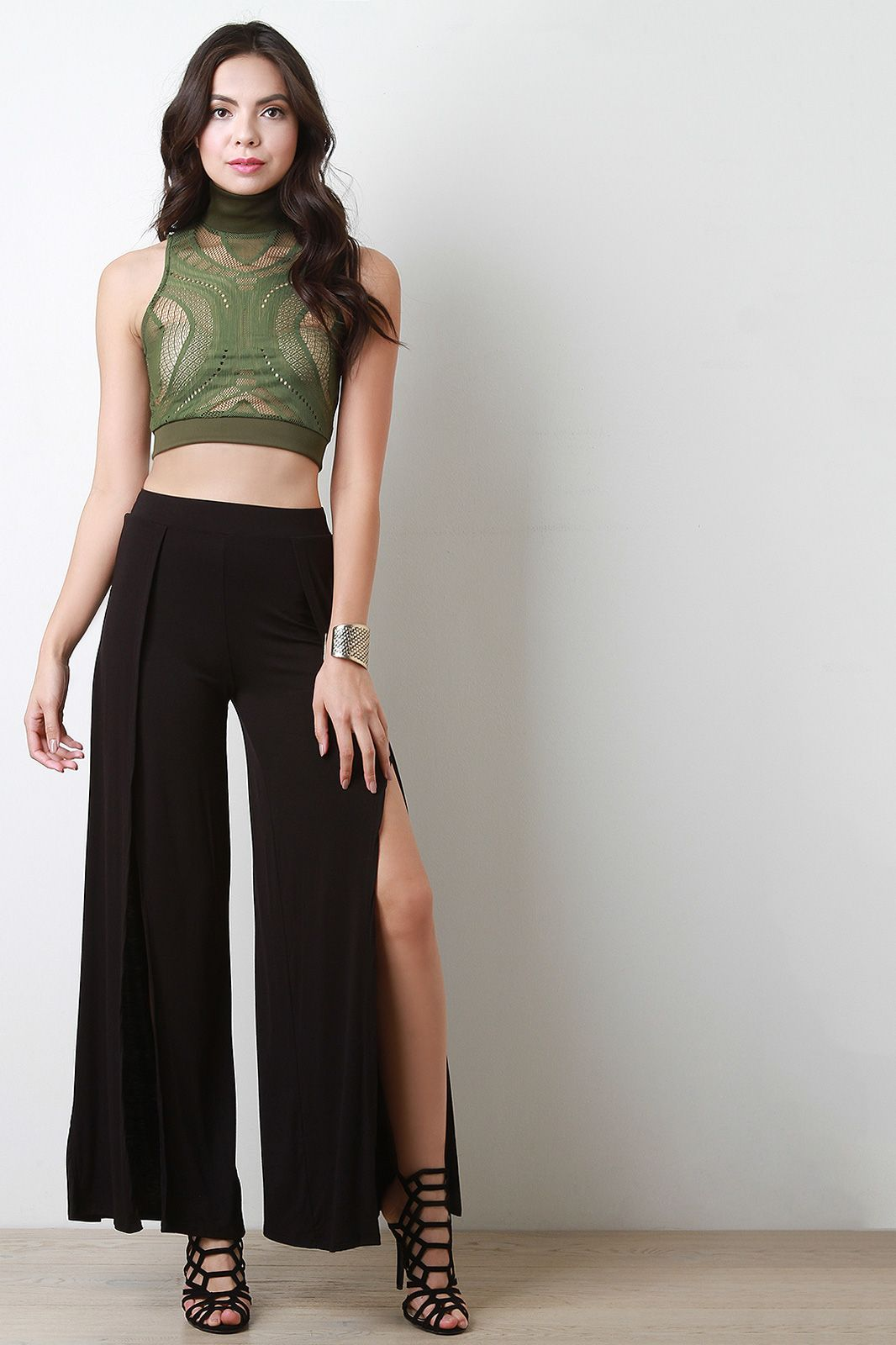 Free SH & Easy Returns! Shop High Waist Wrap Flare Palazzo Pant. These palazzo pants feature an elastic waistband, wrap leg design, slit, flare cut, and a soft knit fabrication.