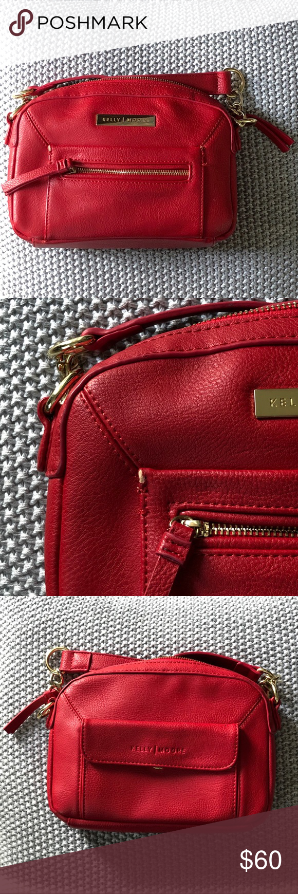 Kelly Moore Vegan Camera Purse This red purse from Kelly Moore is used but still in decent shape. There is somewhere on the corner of a pocket but in otherwise good shape. Comes with adjustable strap. Kelly Moore Bags Crossbody Bags #camerapurse