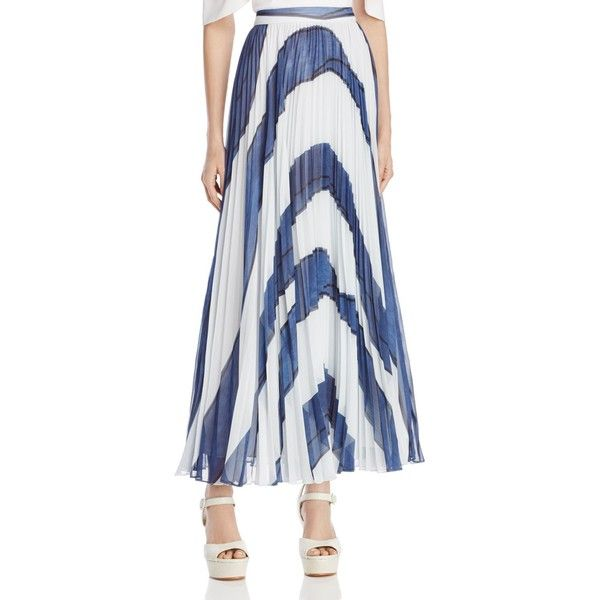058bf6ce89a2 Alice + Olivia Shannon Pleated Maxi Skirt ($515) ❤ liked on Polyvore  featuring skirts, painted abstract stripe, long skirts, striped maxi skirts,  abstract ...