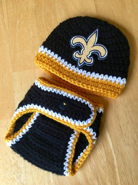 Photo of Saints Baby Boy Hat Outfit Set Football Hospital Newborn Hat and Diaper Cover Set Baby Shower Gift Coming Home Outfit Knit Crochet