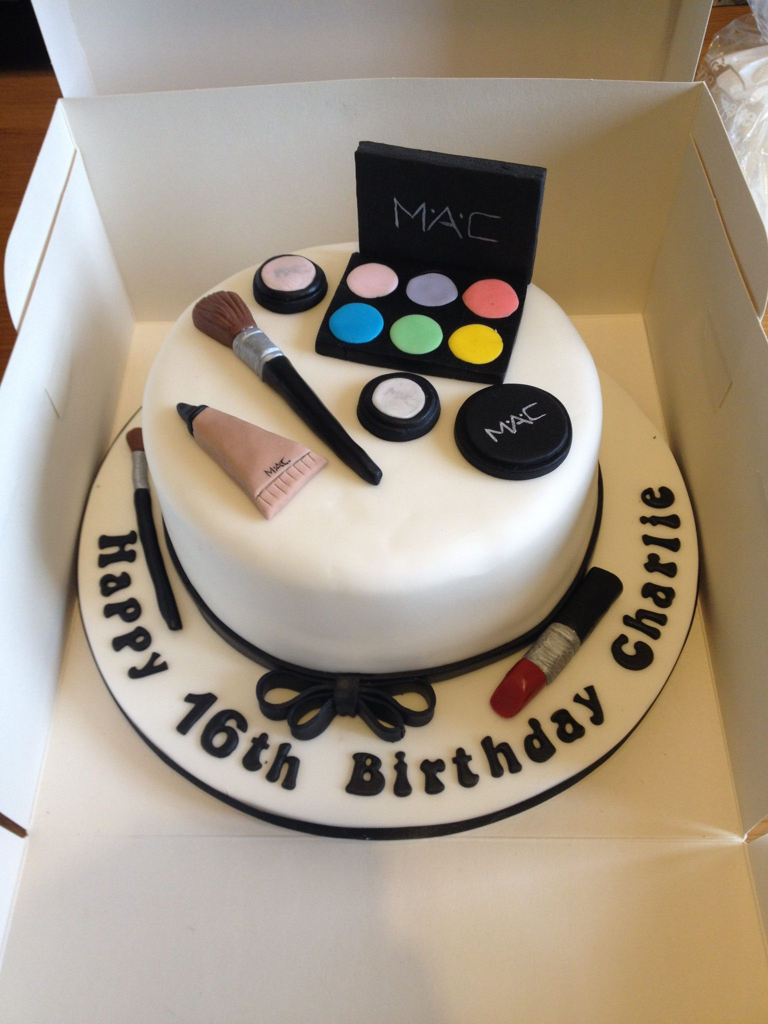 Fantastic Happy 16Th Birthday Charlie Mac Makeup Themed Birthday Cake Personalised Birthday Cards Veneteletsinfo