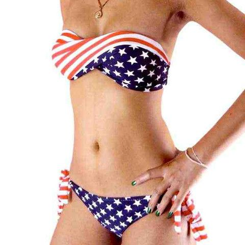 65fe8eefadb Go USA! We love this sexy American Flag print swimsuit set. Beautiful  bandeau style top and will look fabulous on you. Twist style American flag  baneau top ...