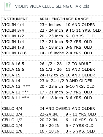 Sizing chart for violin viola cello also lessons online rh pinterest