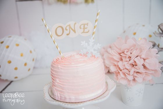 Blush cream gold cake smash Dublin Ohio first birthday photography