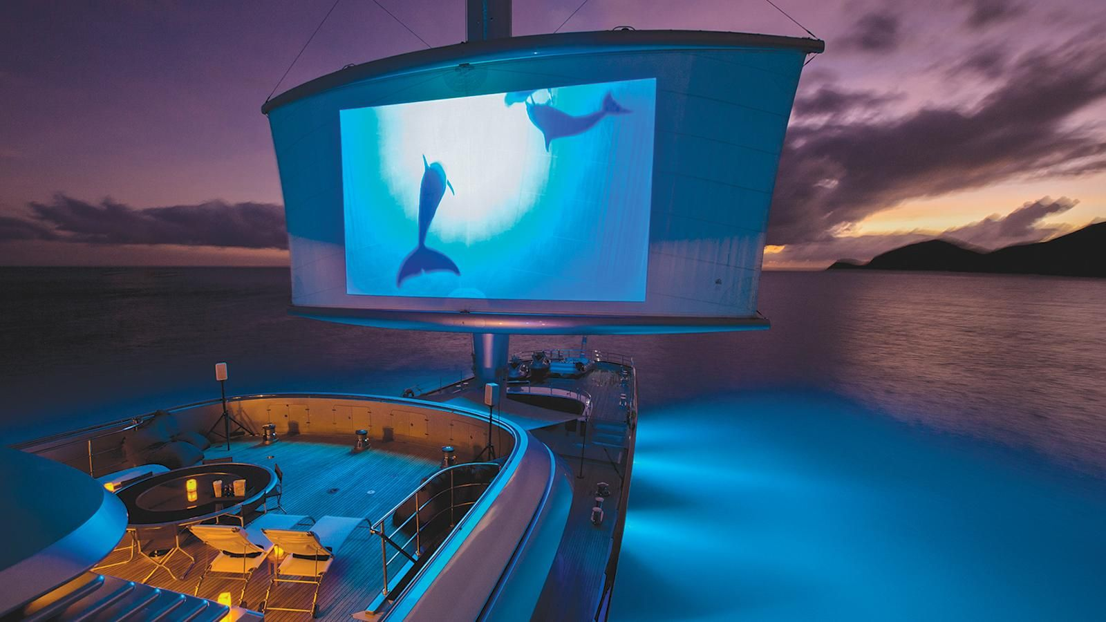 Mega-sailing yacht Maltese Falcon's outdoor cinema utilises a sail!   Boat International