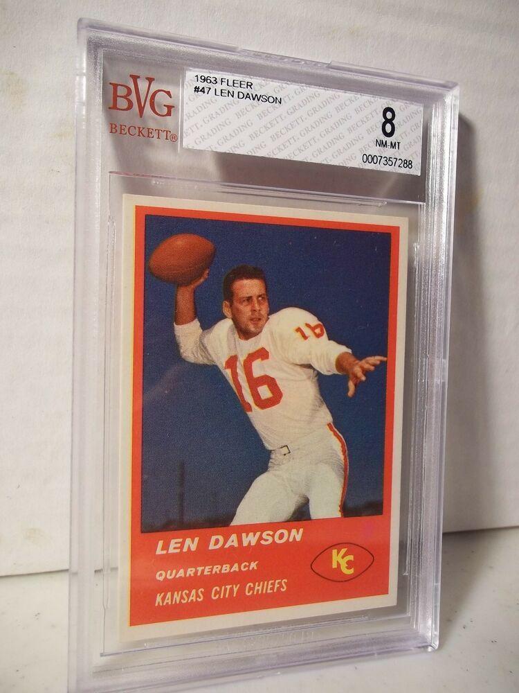 1963 fleer len dwason rookie bvg nmmt 8 football card 47