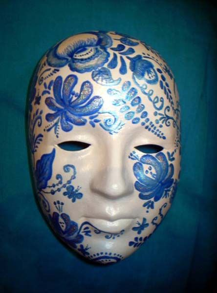 Decorative Venetian Masks Unique Masquerade Mask Decorated With Blue Painting And Creative Craft Design Decoration
