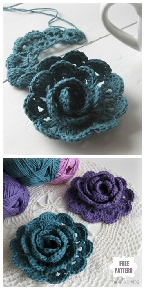 Easy Crochet Rose Flower Free Crochet Patterns - DIY Magazine #crochetflowers