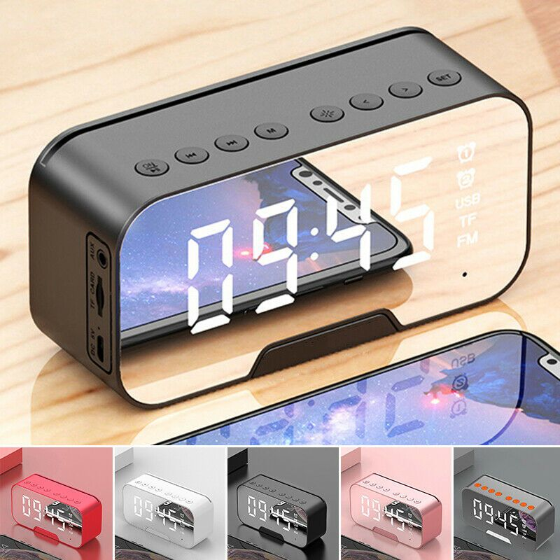 Led Mirror Digital Wireless Bluetooth Speakers Alarm Clock Mp3 Fm
