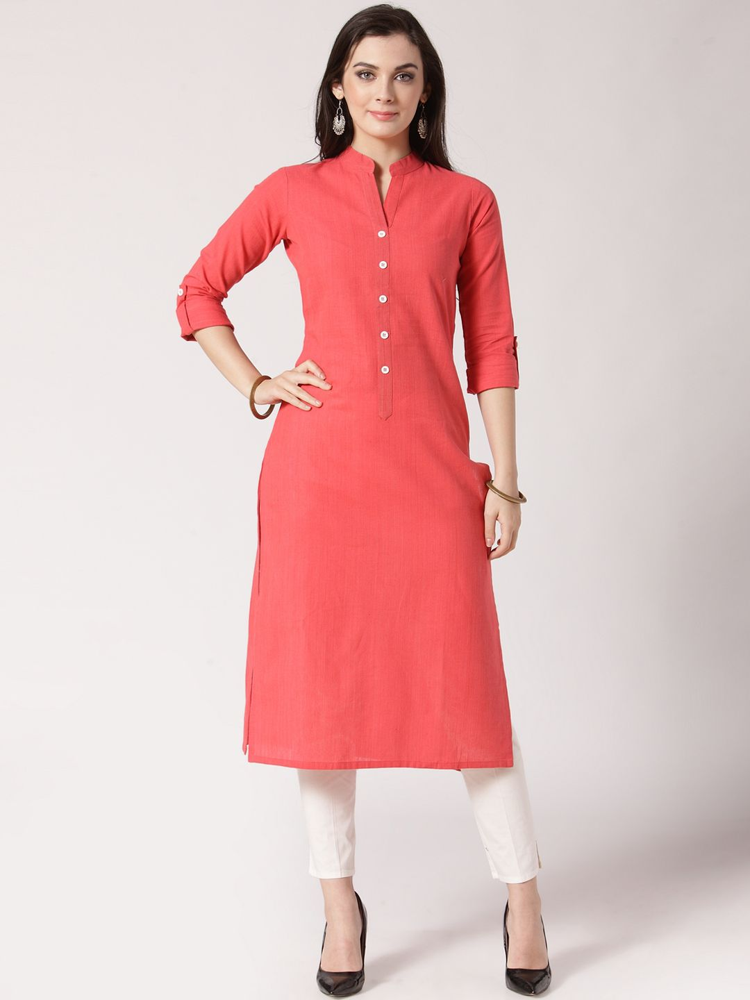 3d3507eac Buy Jompers Women Peach Coloured Solid Kurti With Trousers - Kurta Sets for  Women