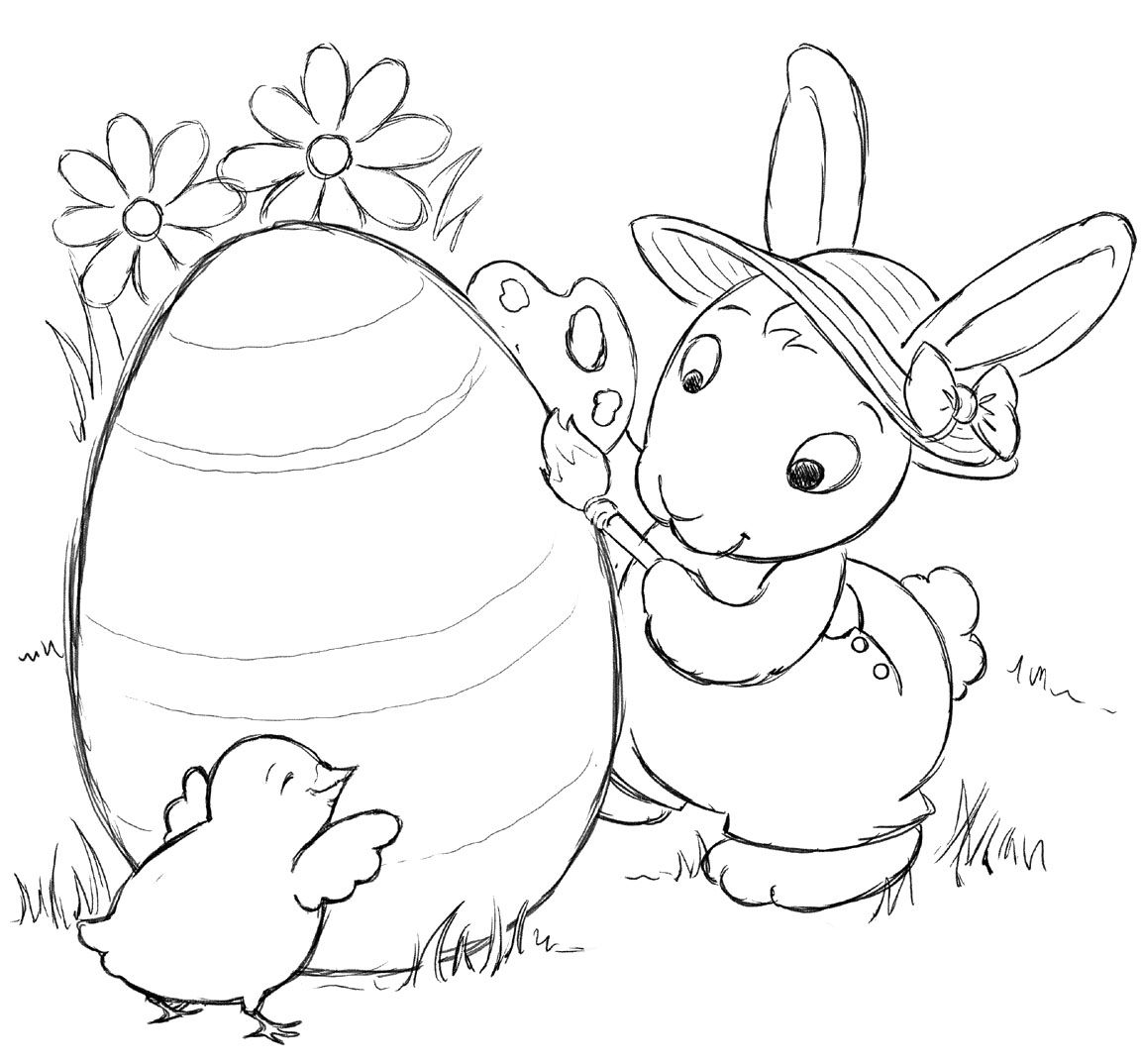 Bunny Cute Big Easter Egg Decorating Coloring Pages Kids