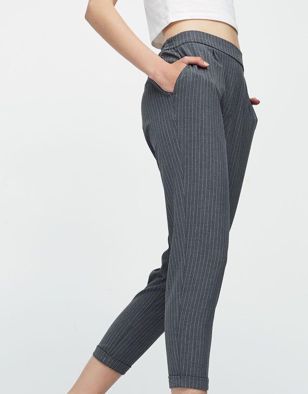Pantalón jogger tipo tailoring rayas - Novedades - Mujer - PULL BEAR México 3d2873b9d3e9