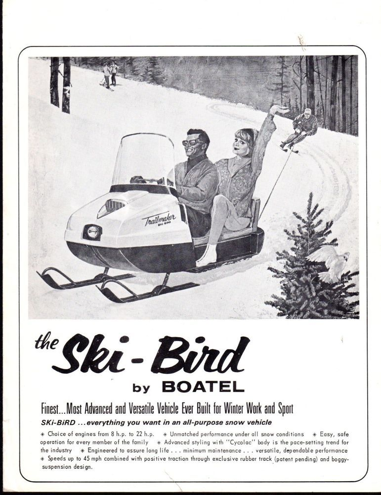 Vintage 1967 Boatel Ski Bird Snowmobile Sales Brochure 4