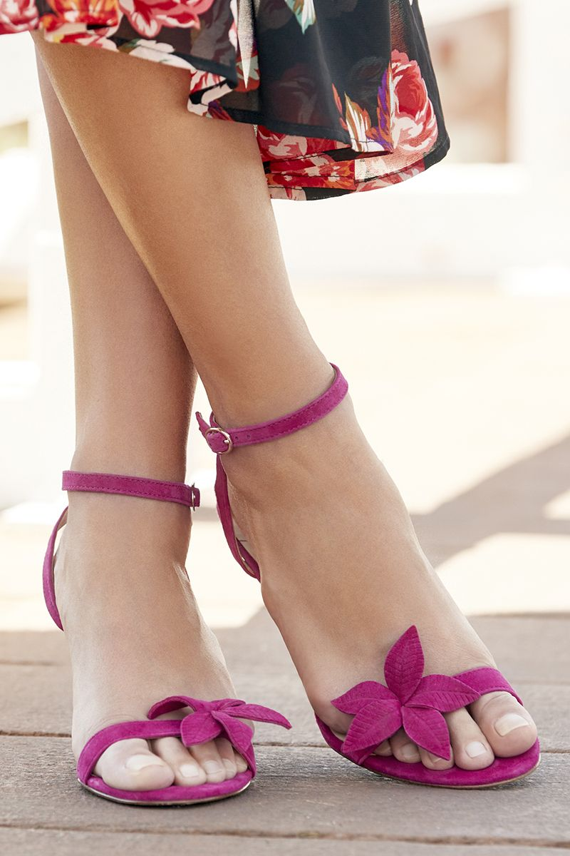 99ce4e367 Pink dressy sandal with floral embellishments and a stiletto heel ...