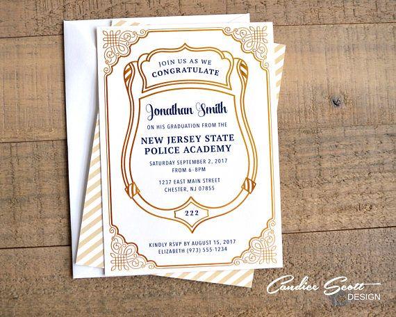 Police Graduation Formal Invitation-DIY Printable File Police - formal invitation