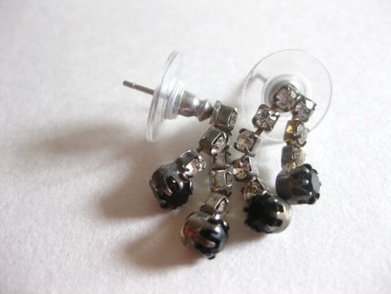 Rhinestone Clear Black Drop Earrings Vintage Free by slockwoo