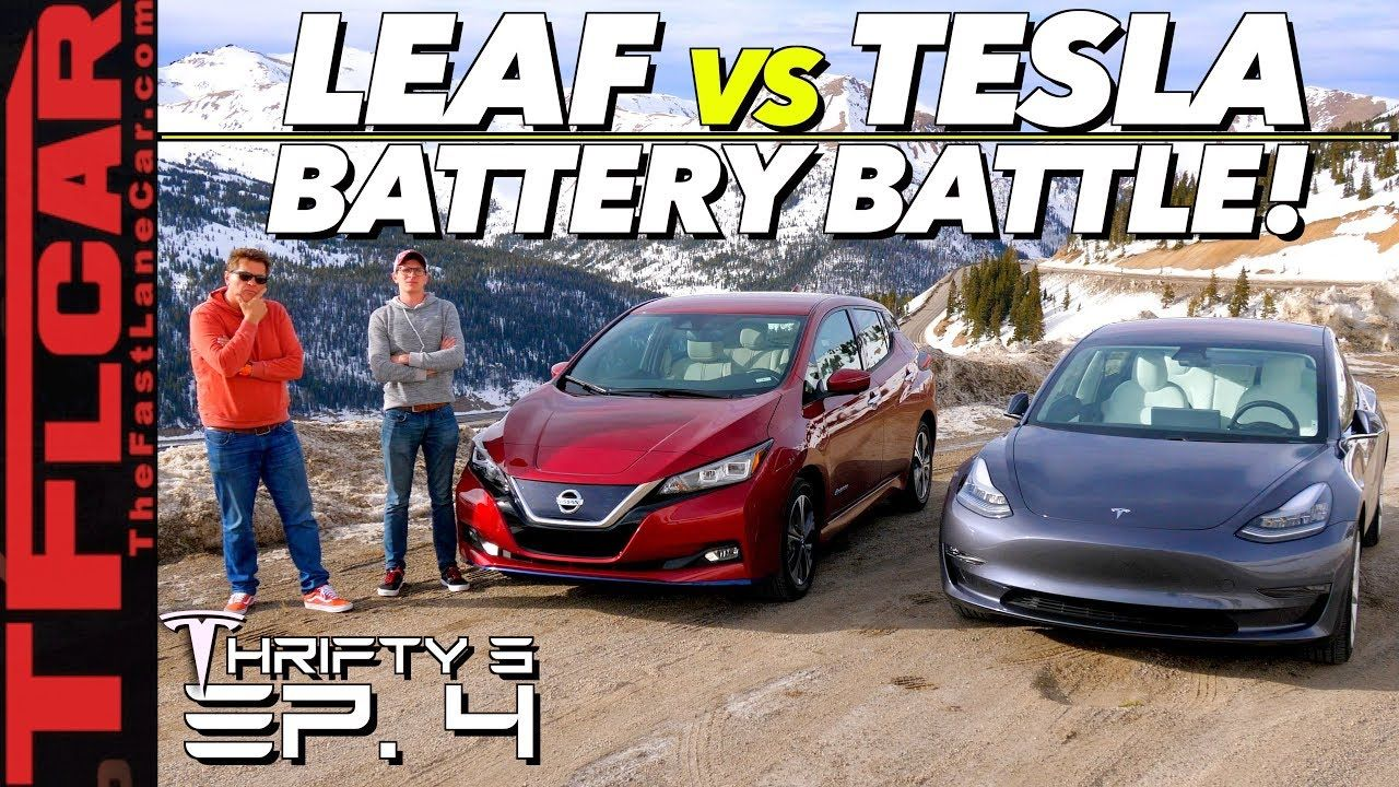 We Drive A Tesla Model 3 Vs Nissan Leaf Up A Mountain To See Which Is Mo Nissan Leaf Electric Cars Nissan Leaf Tesla Model