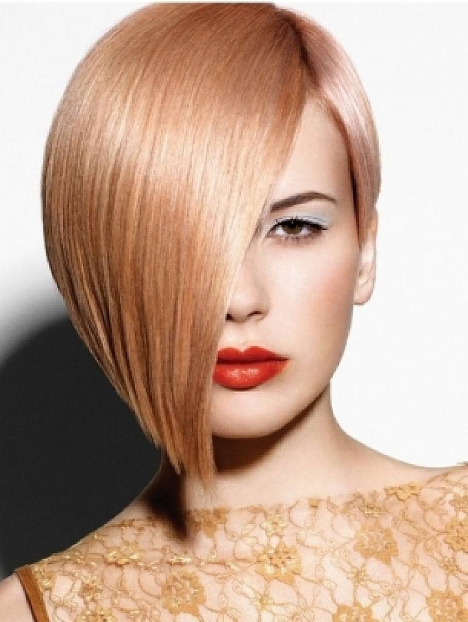 Strawberry Blonde Hair Color With Side Bangs For Short Straight