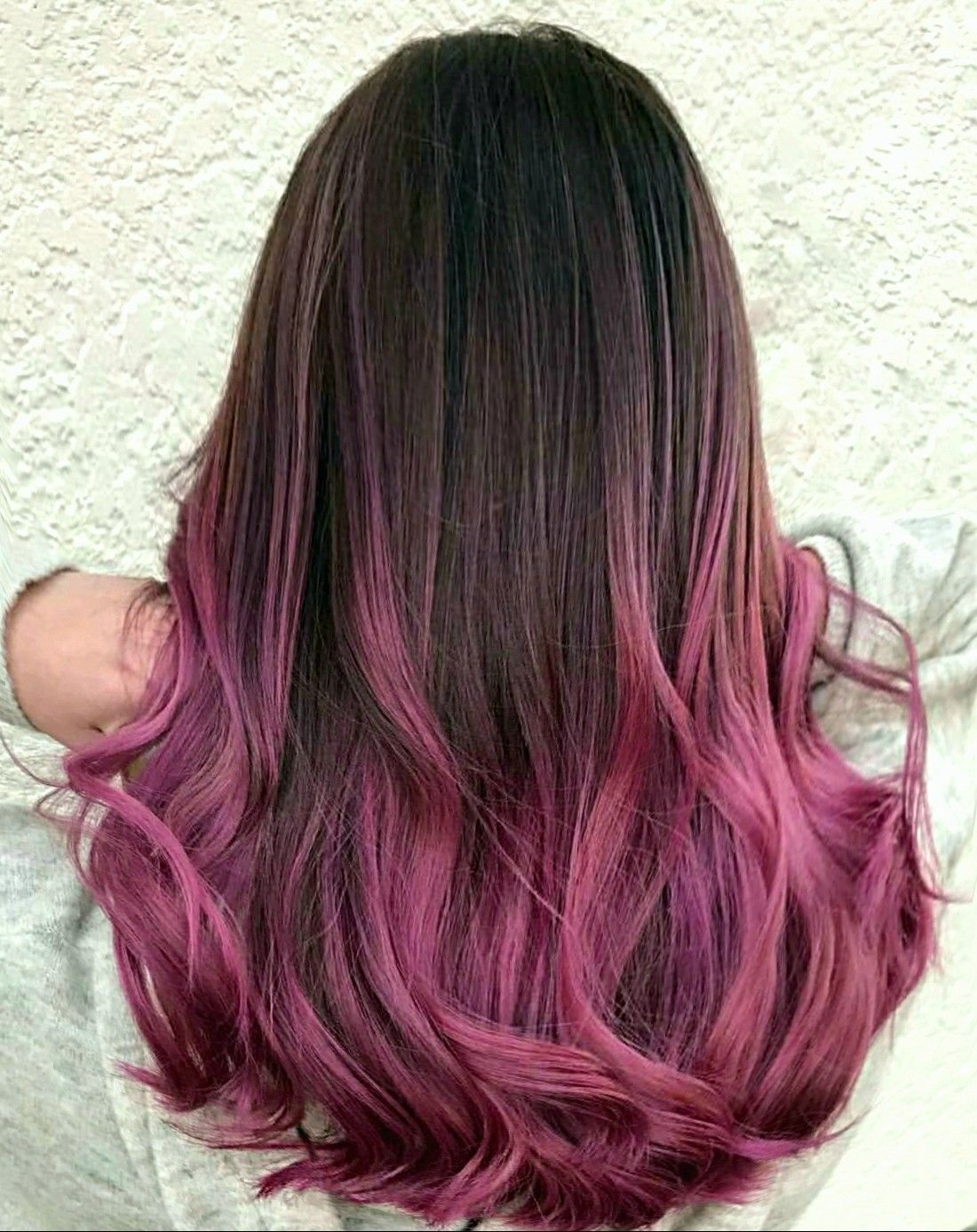 Ombre Brunette Into Vivid Roses And Pinks Purple Ombre Hair Pink Ombre Hair Pink Hair Tips