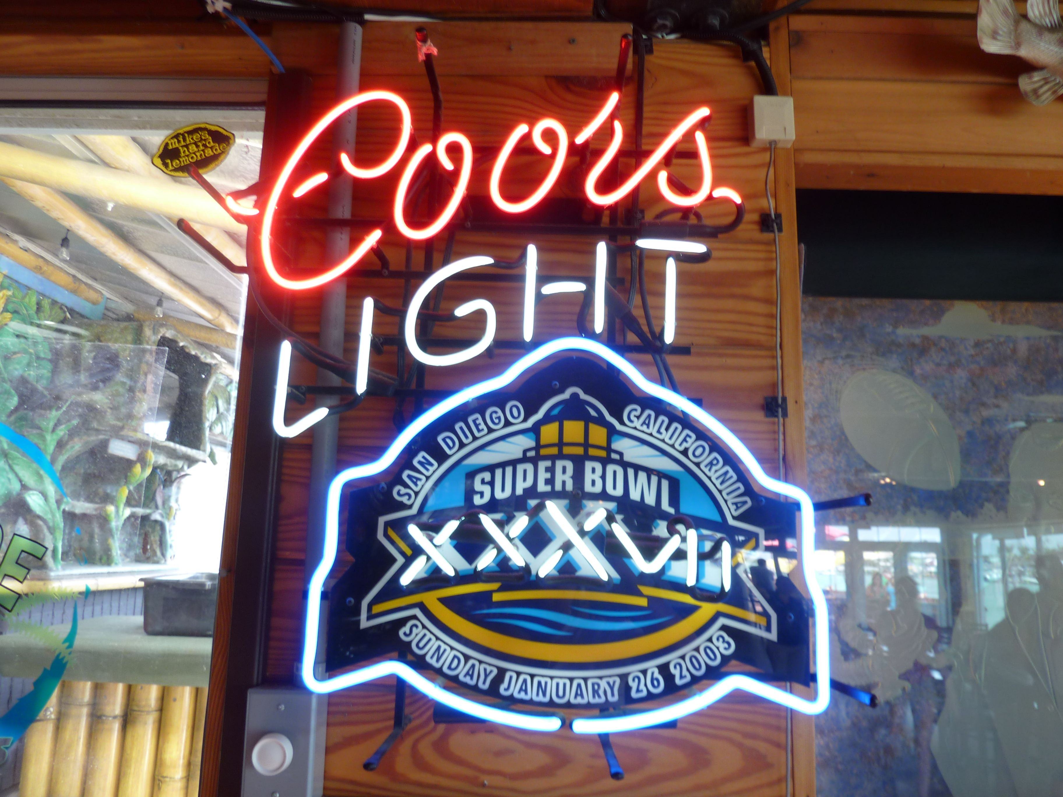 coors light neon beer sign super bowl xxxvii nfl football