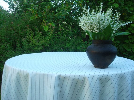 Striped Off White Black Linen Tablecloth Square By Milastyle