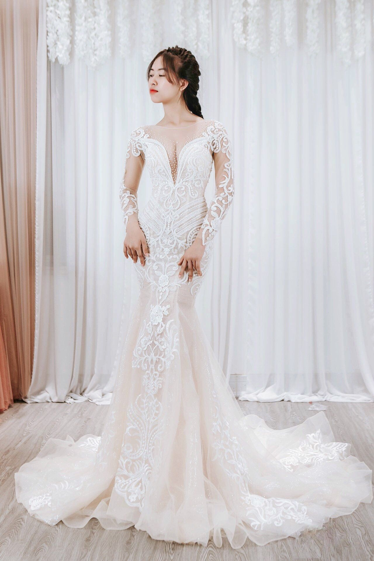 Amelia Mermaid Bridal Gown/ Detachable Overskirt/ Luxury