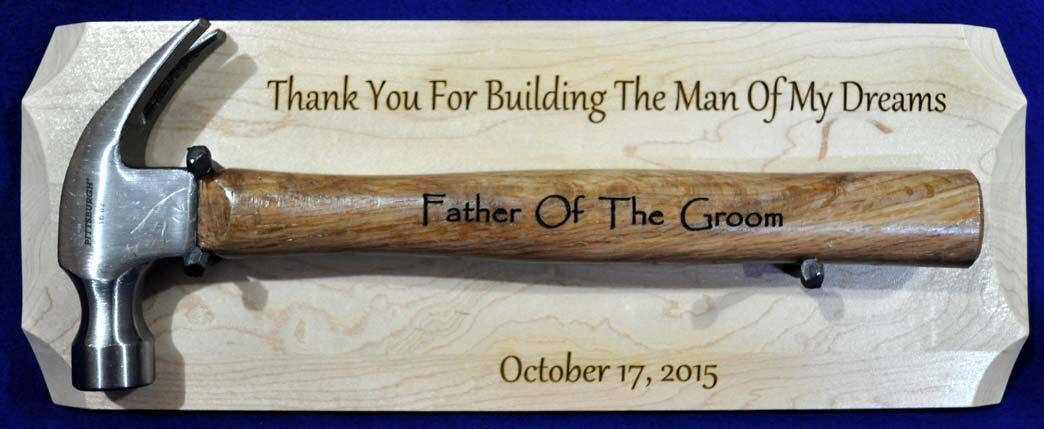 Father of the groom engraved hammer display gift for dad