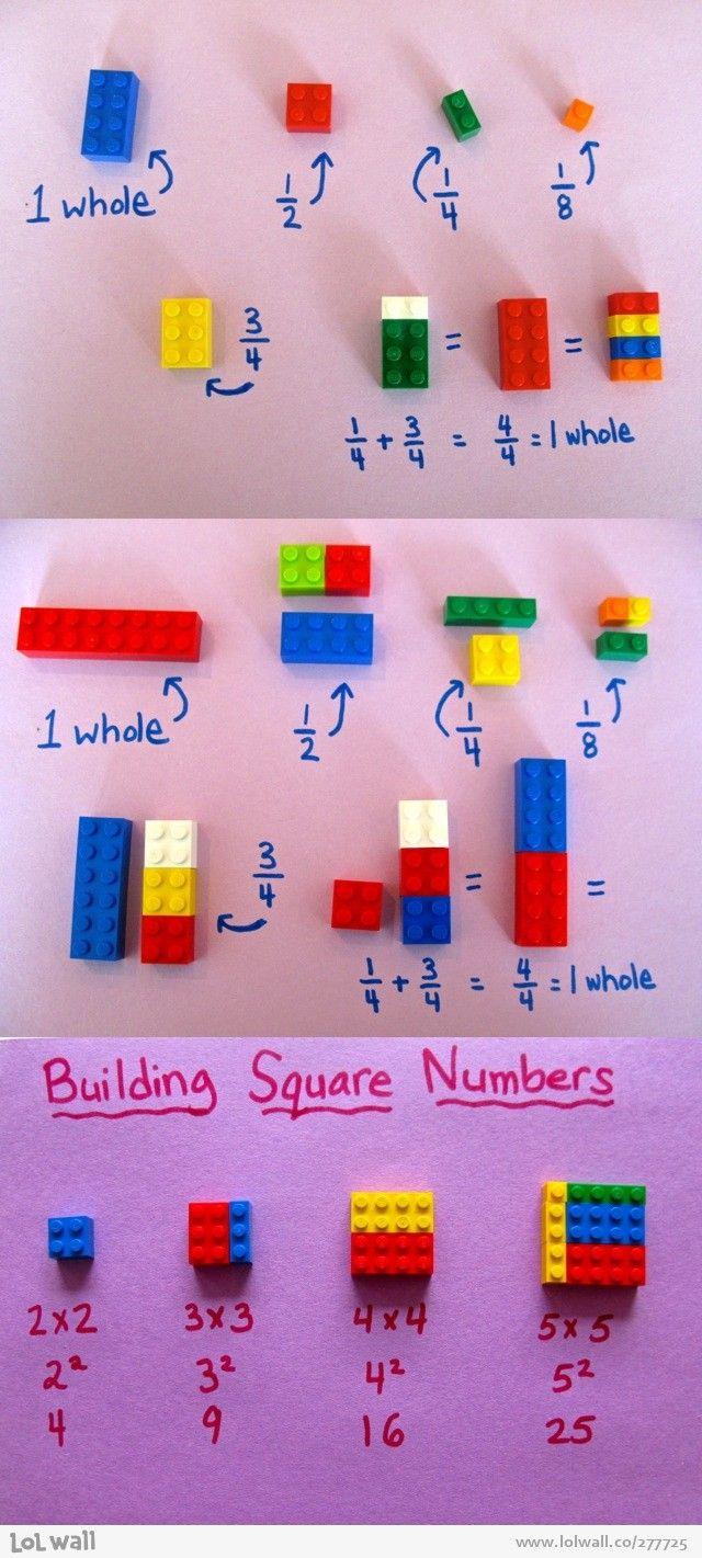 Aprender matemáticas con LEGOs! Además, los niños pensarán que están jugando.