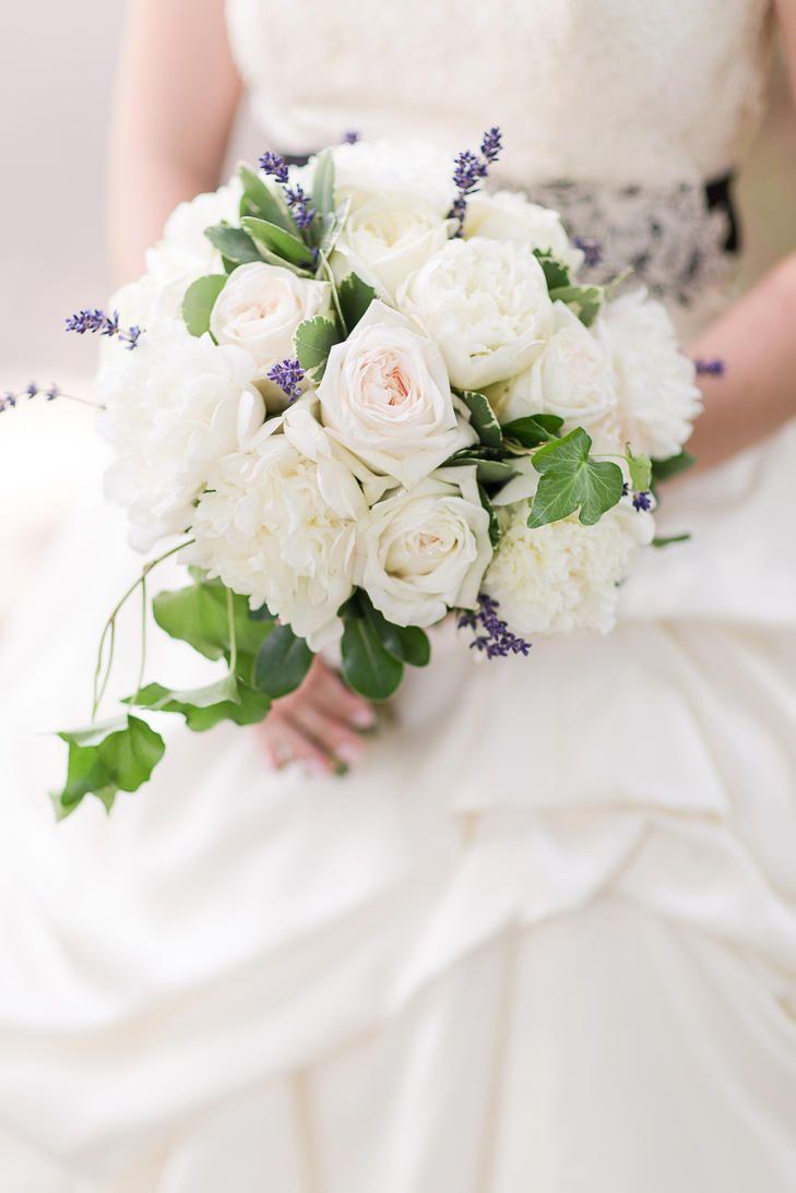 Pretty Bridal Bouquet Comprised Of: White Peonies, Cream Garden ...