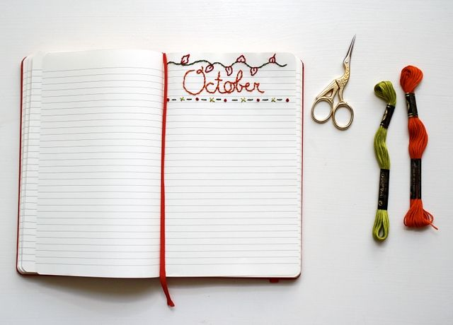 Making Plans for October - an embroidered journal page