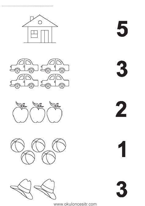 Kindergarten math worksheets - Sayı Rakam Eşleştirme ...