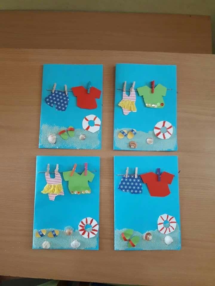 Summer Art Projects Crafts Preschool Kid Paper Cards Anita Tapas Activities School