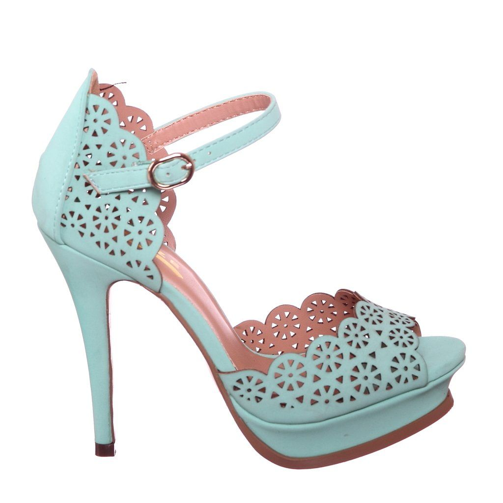 Cut Out Pattern Heels, Perfect for Spring and Summer! (8, mint) [Apparel]
