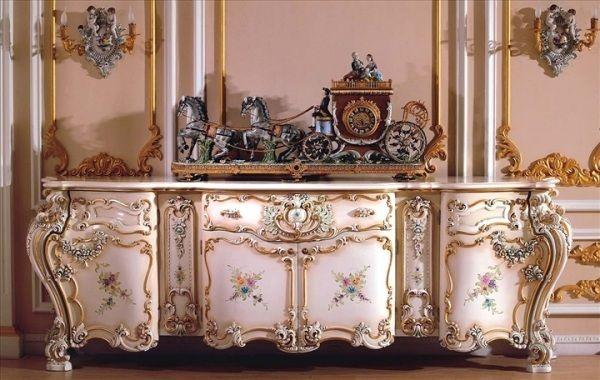 verzierte rokoko kommode romantik sp tbarock inspiriert natur muschel rocaille rokoko rokoko. Black Bedroom Furniture Sets. Home Design Ideas