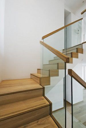 Glass Railing With Wood Handrail More Contemporary Option   Wooden Handrail With Glass   Contemporary Wood Glass   Oak   Timber   Staircase   Steel