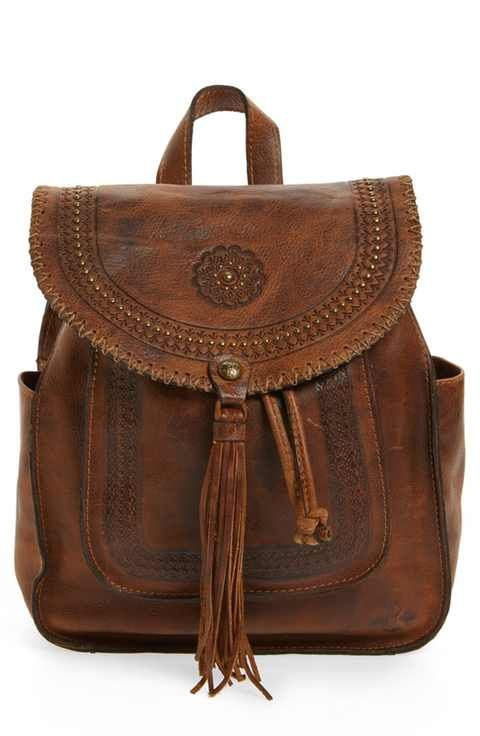 Patricia Nash Jovanna Tassel Studded Leather Backpack