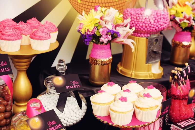 Black white hot pink and gold glitter and glam Birthday Party