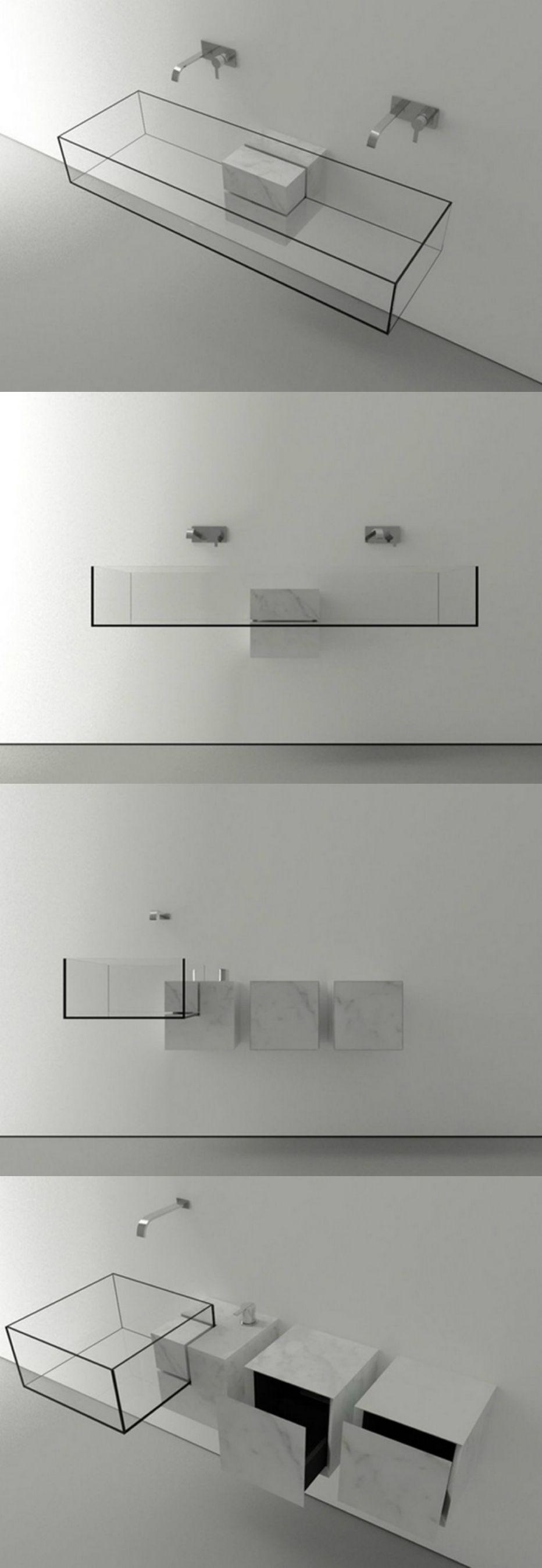 Lavabo minimaliste transparent verre - marbre Victor Vasilev