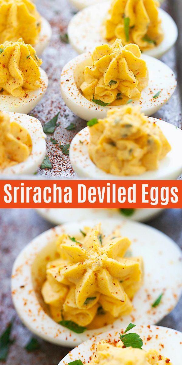Sriracha Deviled Eggs (Easy Homemade Recipe) - Rasa Malaysia #deviledeggs