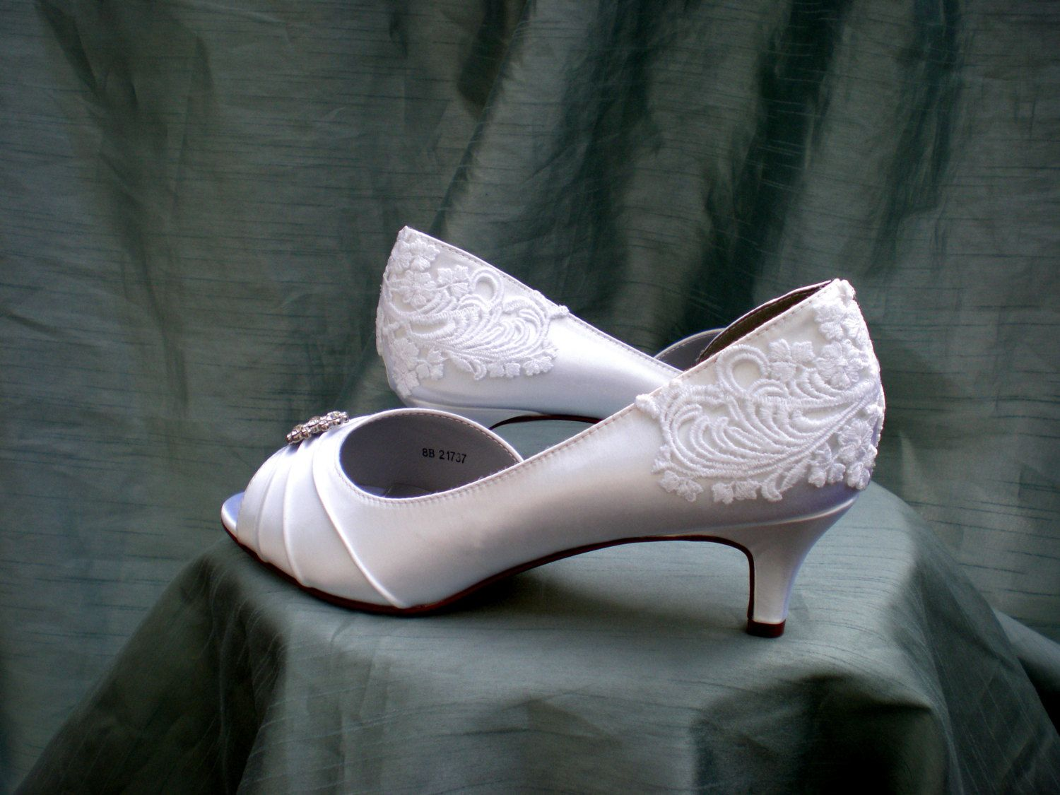 Lace Wedding shoes  Wedding shoe low heel  by TheCrystalSlipper, $155.00