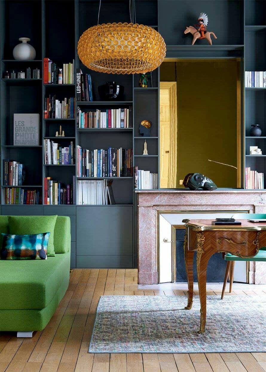 mur et biblioth que gris anthracite farrow and ball int rieurs en couleurs colored. Black Bedroom Furniture Sets. Home Design Ideas