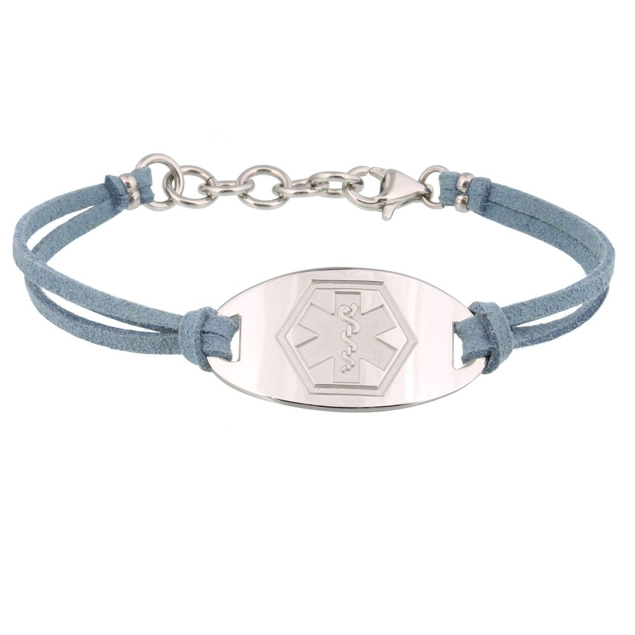 gray faux suede band medical id bracelet with sterling