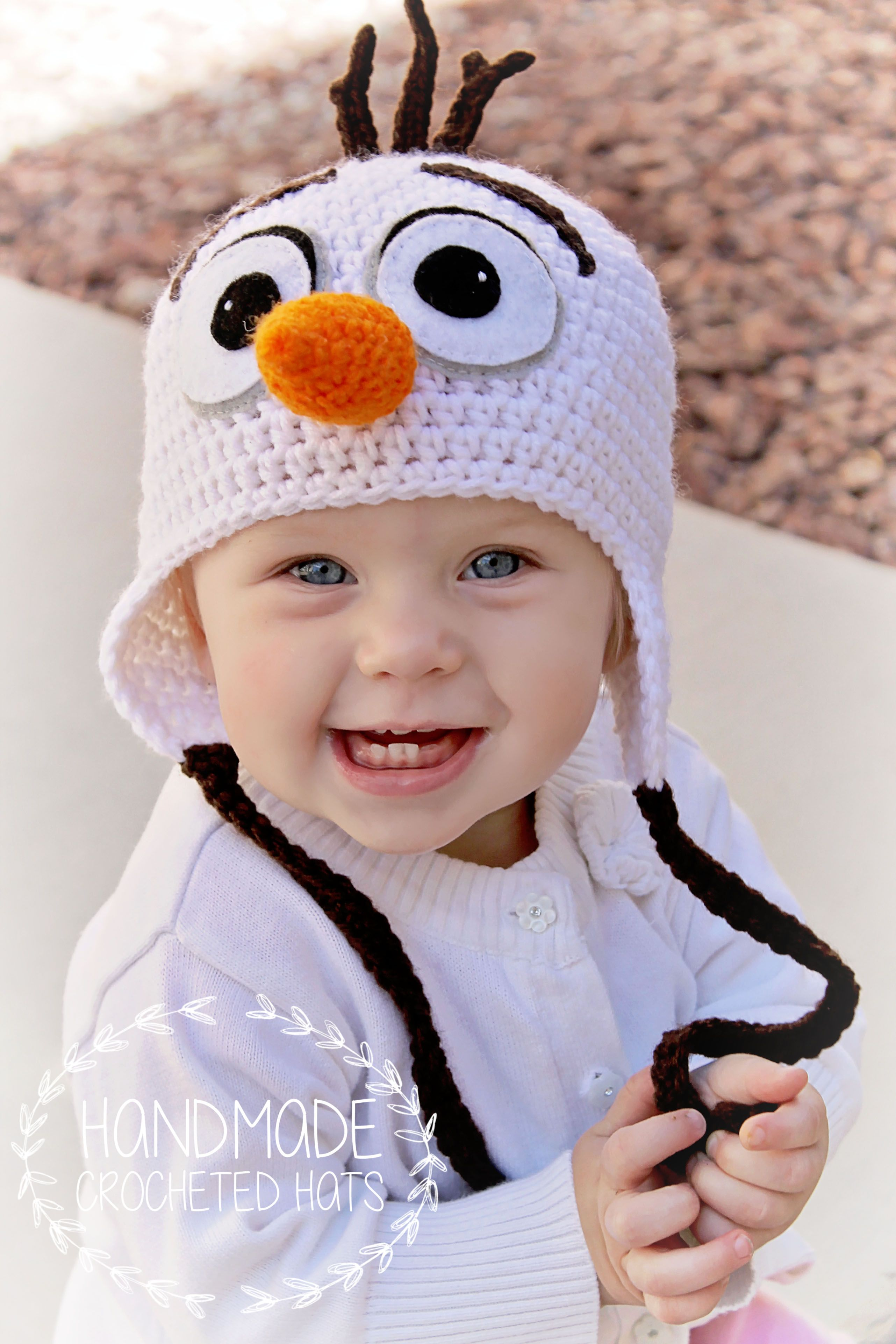 Olaf, crocheted with love by Handmade Crocheted Hats https://www ...