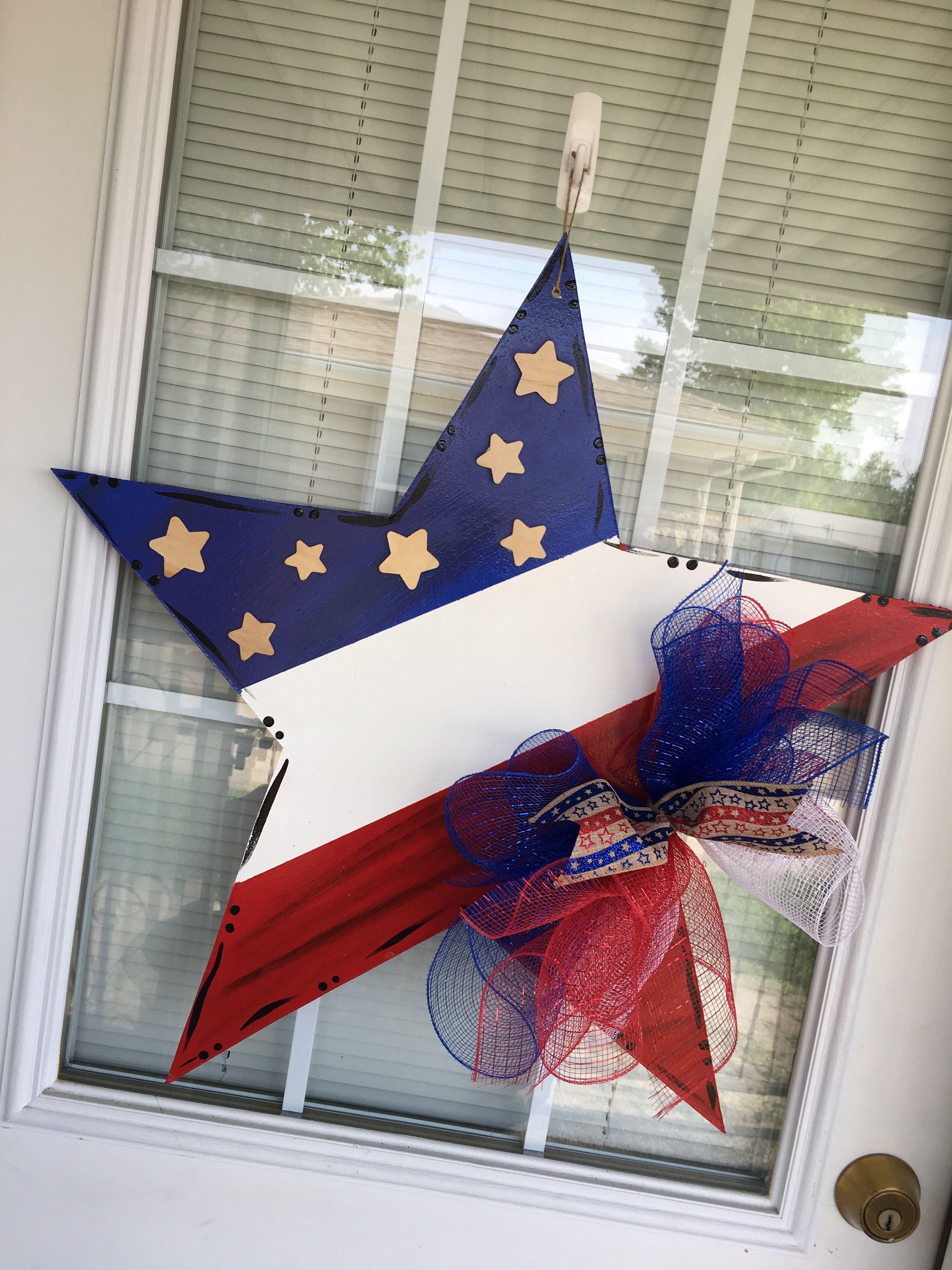 Patriotic Start Wooden Door Hanger 4th July Door Hanger Fourth Of July Decor 4th Of July