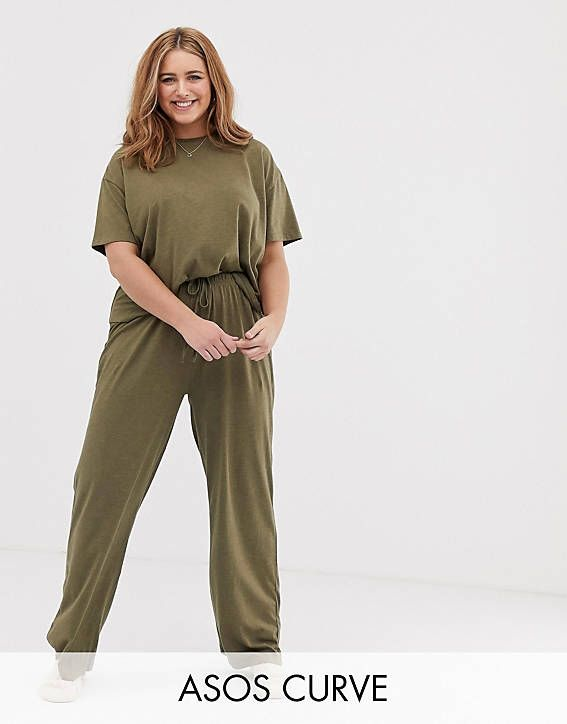 DESIGN Curve mix & match marl pyjama jersey pants in 2019 ...