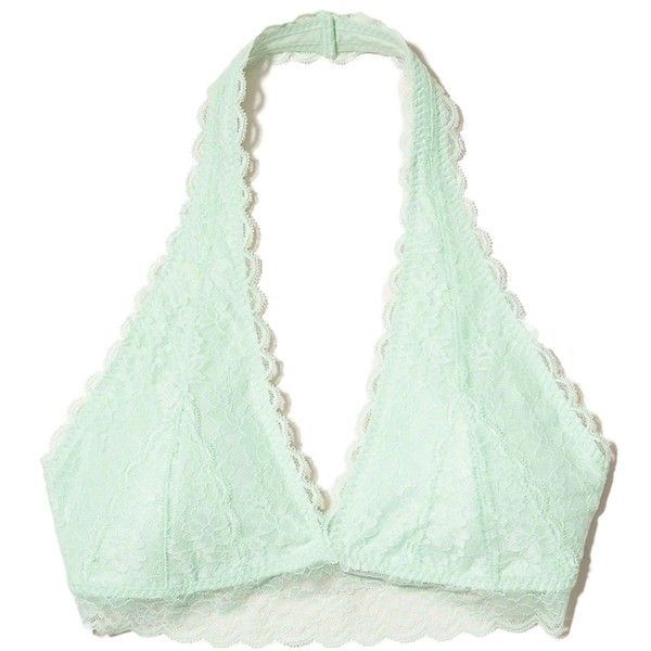 e242e81d246 Hollister Lace Halter Bralette With Removable Pads ( 9.99) ❤ liked on Polyvore  featuring intimates