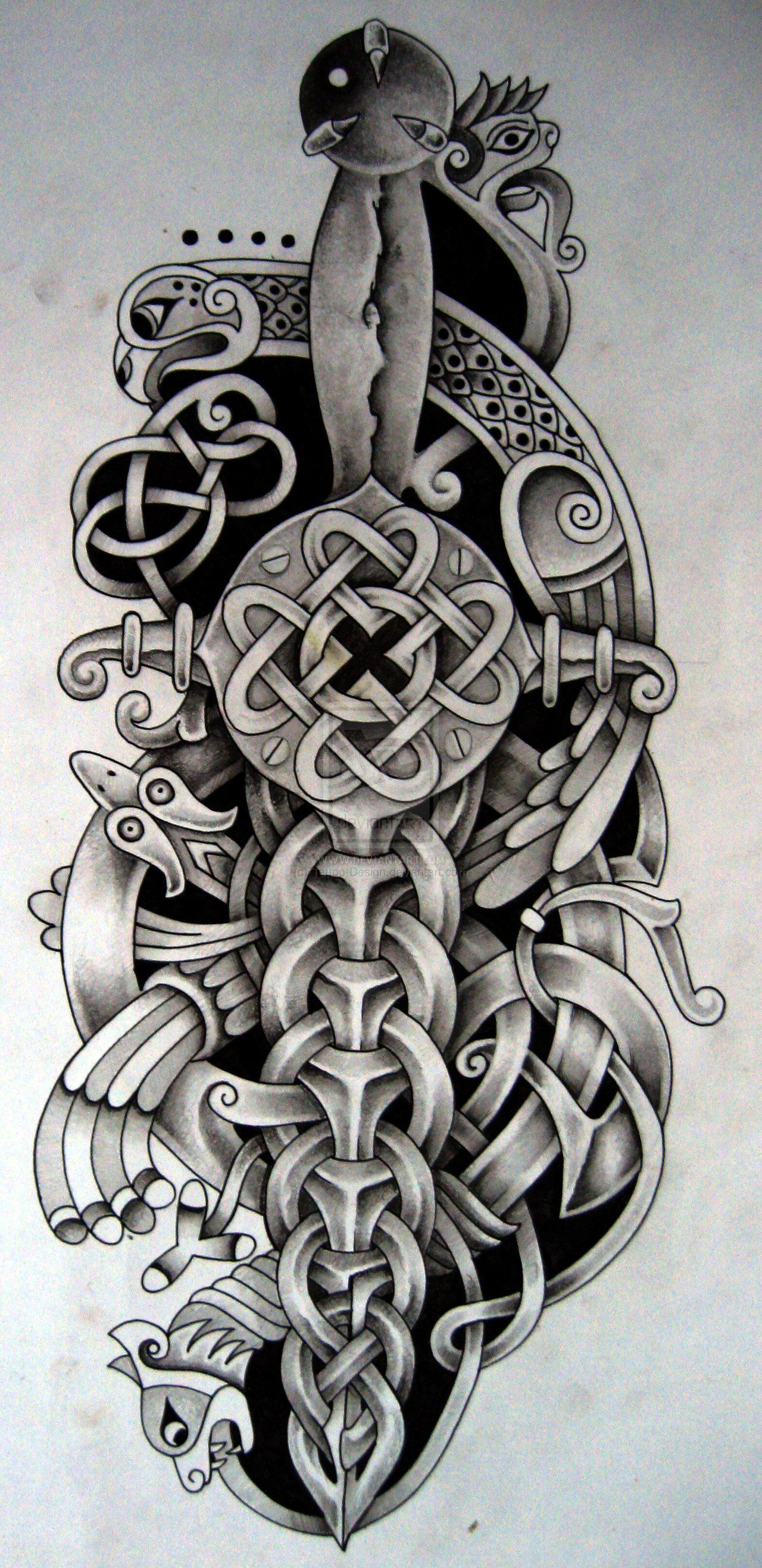 Celtic Dagger And Bird By Tattoo Design On Deviantart Celtic Sword Tattoo Celtic Tattoo Irish Tattoos