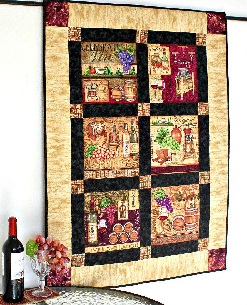 Wine Wall Hanging Winery Decor Quilted Harvest Wall Decor Grapes Wine Bottles Kitchen Wall Quilt Gift For Wine Lover Quiltsy Handmade