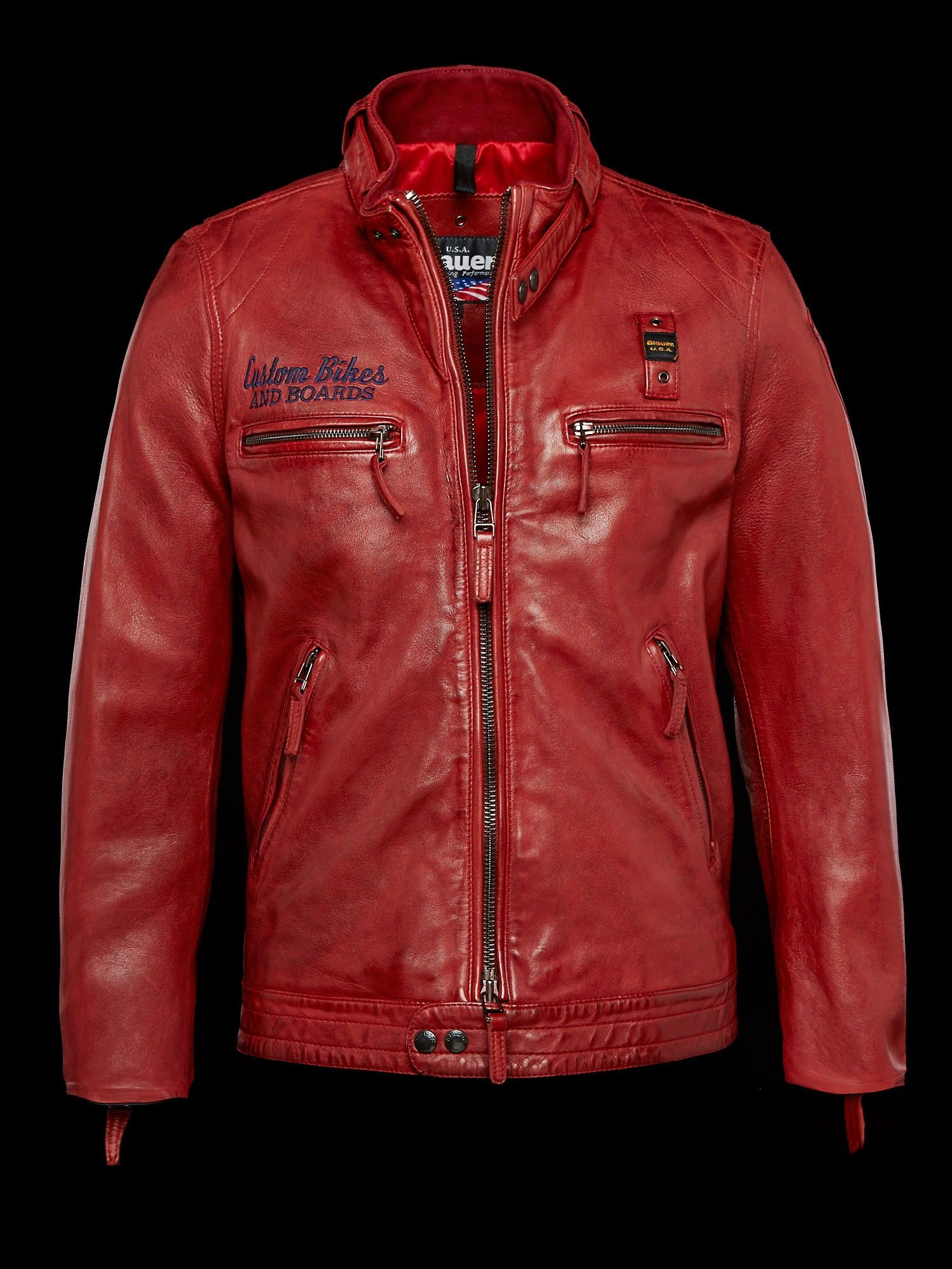 pretty nice 22d09 44377 Blauer BIKER IN PELLE BLAUER | Men's Style | Giacca di pelle ...